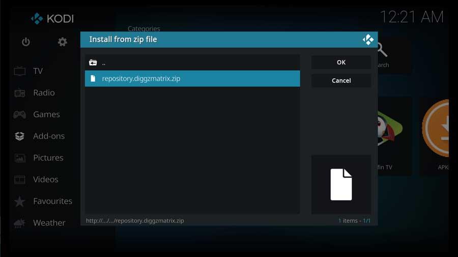Choose the Diggz Matrix repository zip file