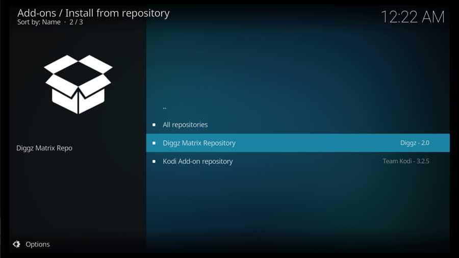 Kodi 19: Select the Diggz Matrix Repository
