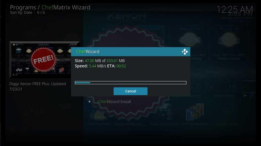 Download progress screen