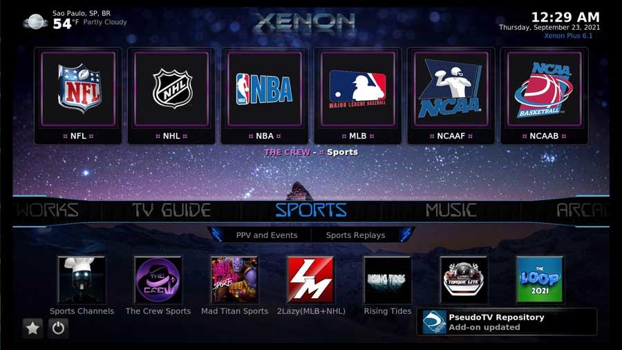 Live sports using the Diggz Zenon build on Kodi 19