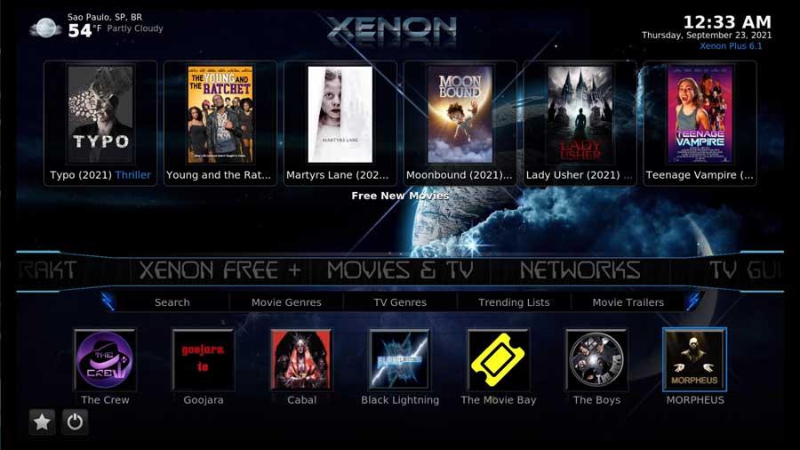 Diggz Xenon build on Kodi 19: home screen