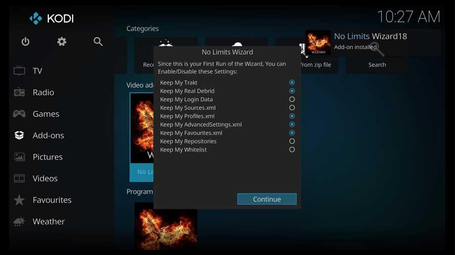 Initial options for No Limits Magic Build wizard