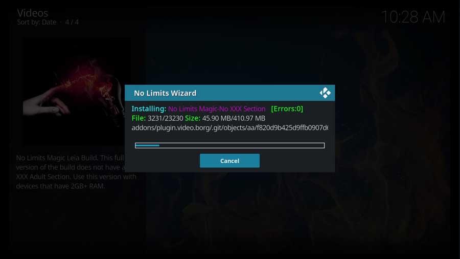 Kodi downloading files for the No Limits Magic build