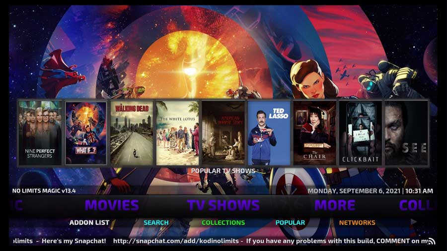 No Limits Magic build, TV Shows section on Kodi 18.9