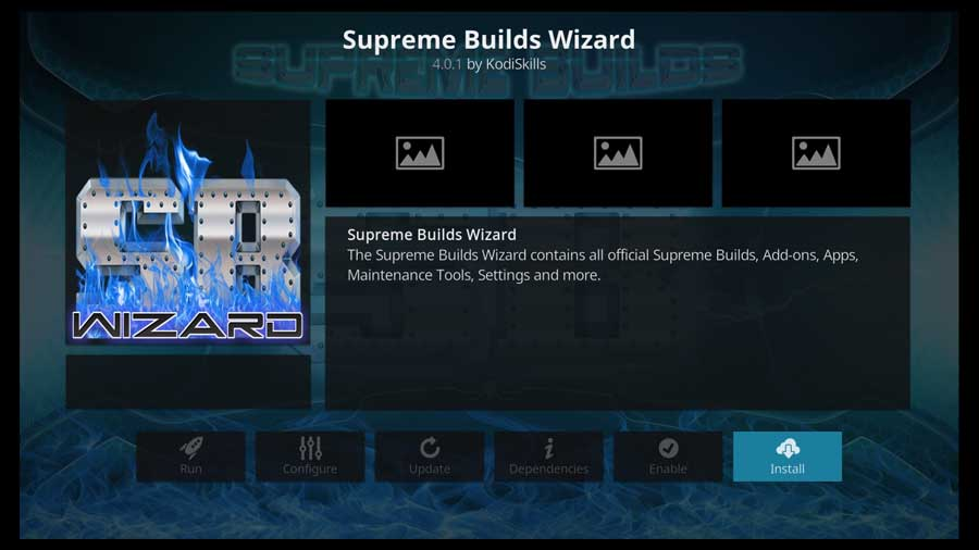 Supreme Builds Wizard addon detail page