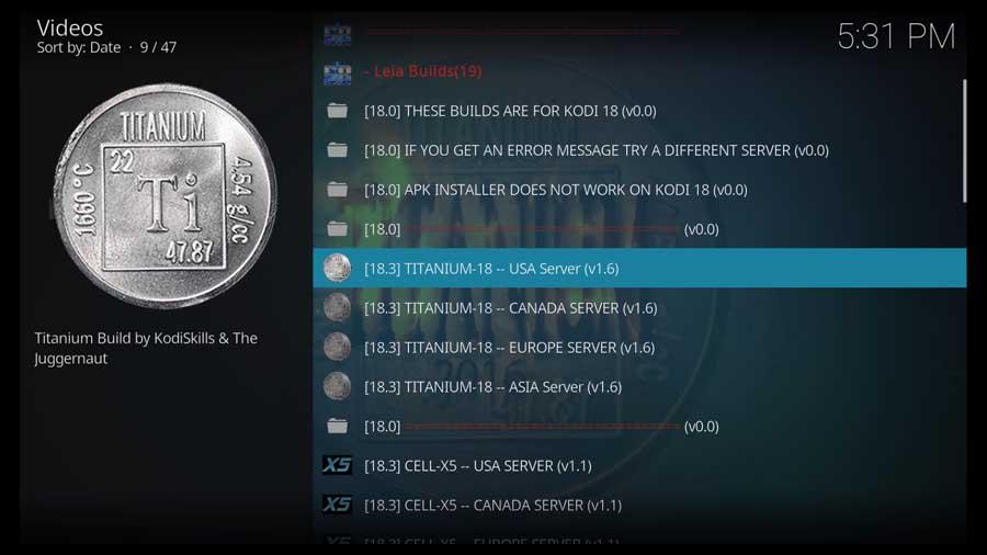 Choose Titanium 18 Build - USA Server for Kodi 18