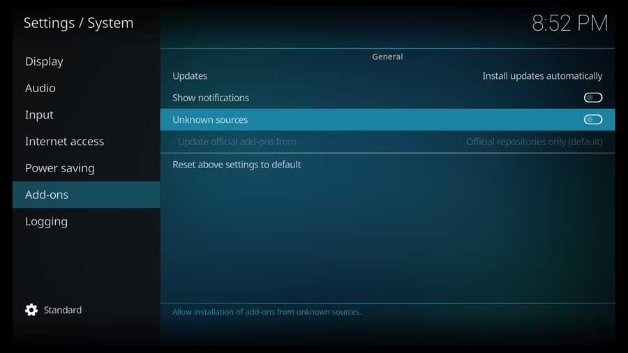 Kodi Settings Menu: Addons screen