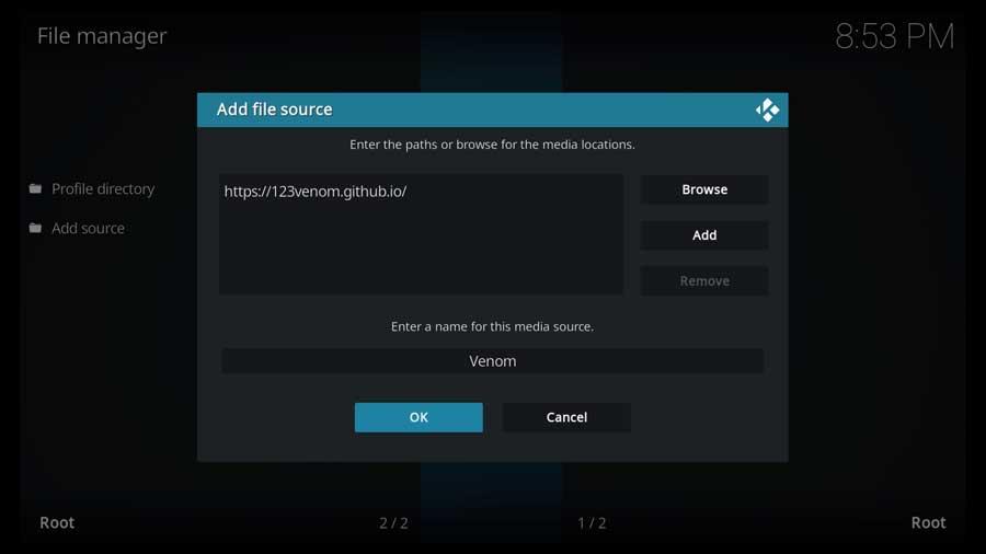 Click OK on Add File Source menu