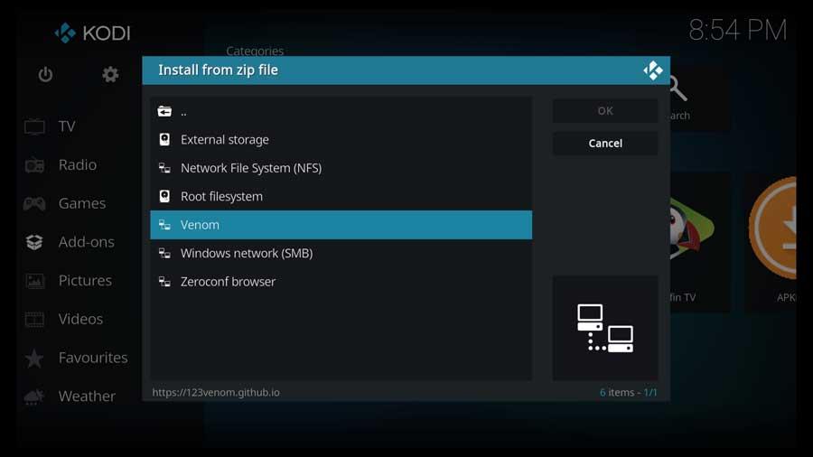 Install Venom addon from Zip File