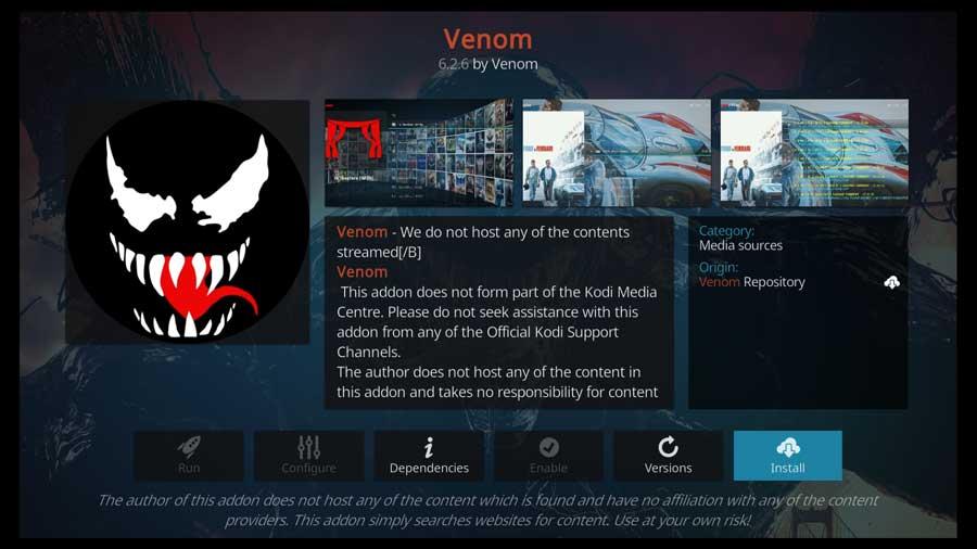 Venom Kodi addon detail page