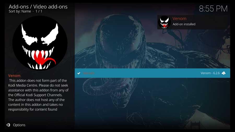 Venom Kodi addon installed successfully