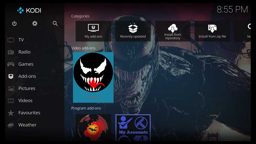 Launching the Venom Addon on Kodi 19