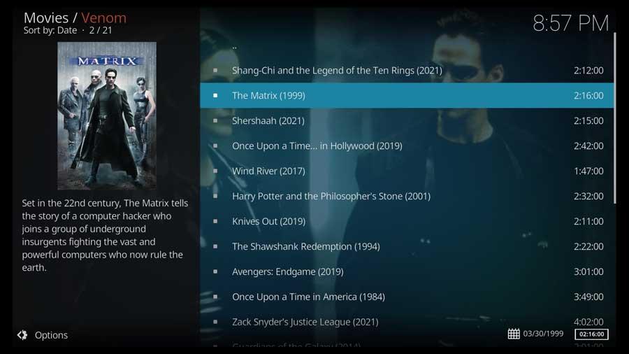 Venom Kodi addon: Movies screen
