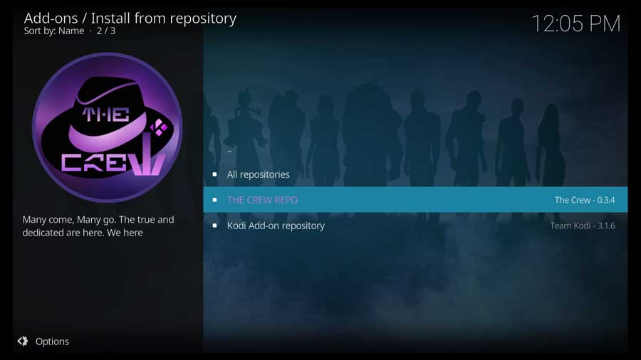 Click on The Crew repository