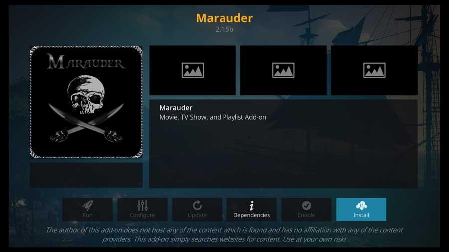 Marauder Kodi addon detail page