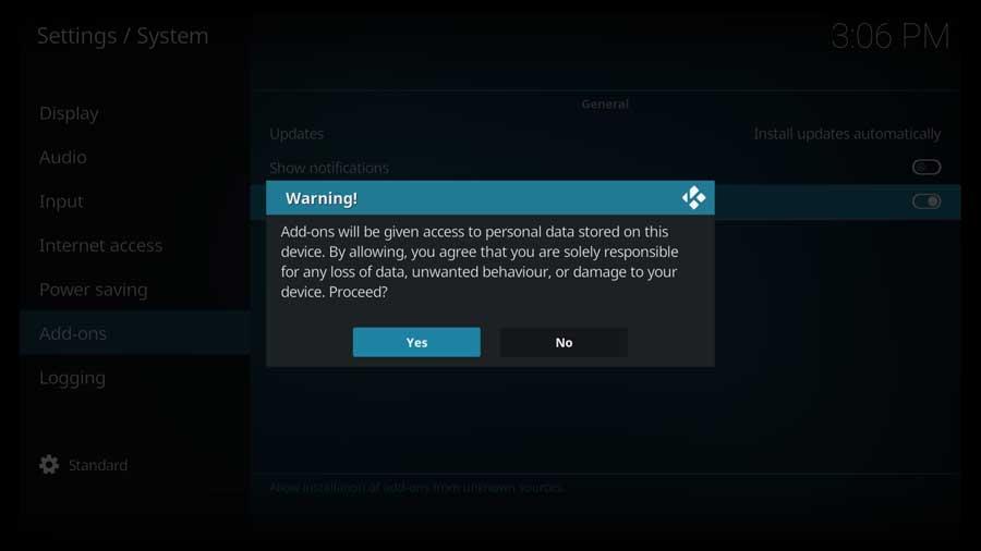 Kodi warning box