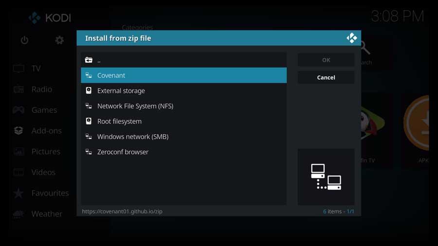 Choose the Covenant custom file source