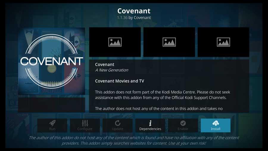 Covenant Kodi addon detail page