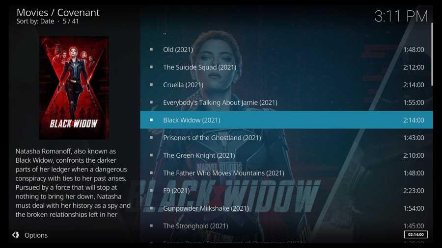 Covenant Kodi addon Movies screen
