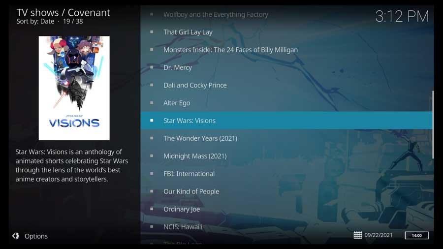 Covenant Kodi addon: TV shows